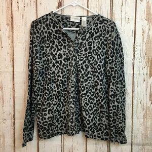 Gray + Black Cheetah Cardigan Liz Claiborne Button